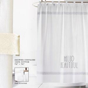 Rae Dunn by Magenta HELLO BEAUTIFUL Shower Curtain